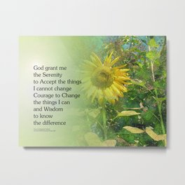 Serenity Prayer Sunflower Metal Print