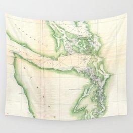 Vintage Map of Coastal Washington State (1857) Wall Tapestry