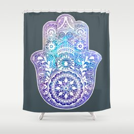 Space Hamsa Hand - I Shower Curtain