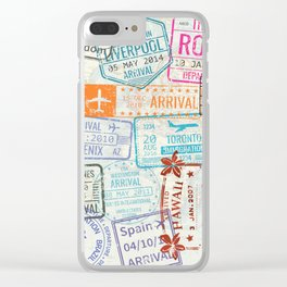 Vintage World Map with Passport Stamps Clear iPhone Case