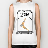 legend of zelda Biker Tanks featuring Zelda legend - Boomerang by Art & Be