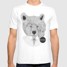 Morning bear MEDIUM Mens Fitted Tee White