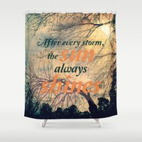 sunshine Shower Curtains featuring Sunshine by Graphic Tabby