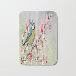 Blue Tit Bird On Cherry Blossom Tree Watercolour Bath Mat
