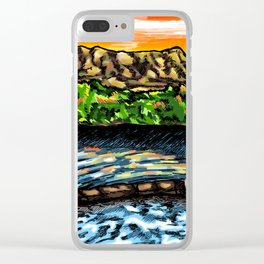 Couple in the Tubs below Turtleback - New Mexico Sunset Clear iPhone Case
