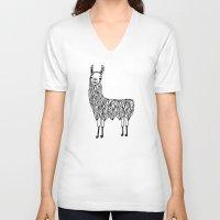 llama V-neck T-shirts featuring Llama by Lizzie Scott