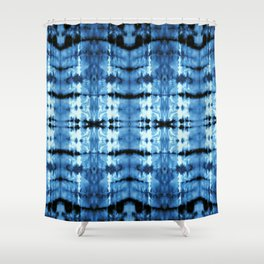 Indigo Satin Shibori Shower Curtain