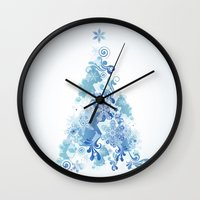christmas tree Wall Clocks featuring Christmas Tree by MaNia Creations