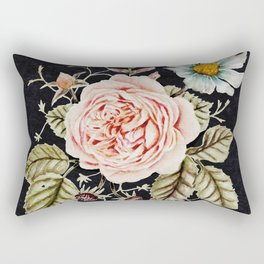 Rose and Foxglove Moody Watercolor Rectangular Pillow