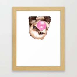Baby Sloth Playing Bubble Gum Framed Art Print