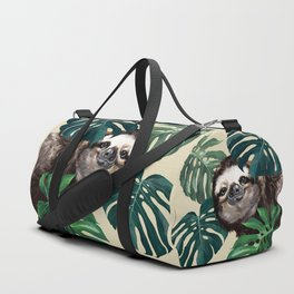 Sneaky Sloth with Monstera Duffle Bag