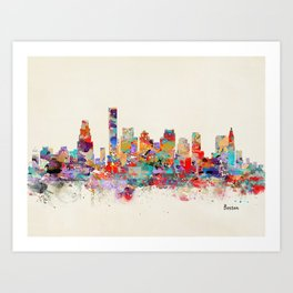 Boston city watercolor Art Print