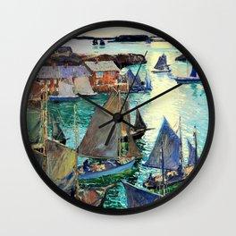 Anchored Boats - Digital Remastered Edition Wall Clock