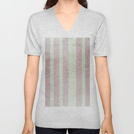 Pastel vintage green faux rose gold elegant stripes Unisex V-Neck
