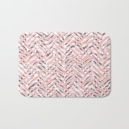 Boho Tropical Summer Abstract Pattern, Blush Pink, Coral and Gray Bath Mat