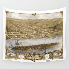 Bird's Eye View of Hermann, Missiouri (1869) Wall Tapestry