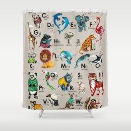 Animals Alphabet in English Shower Curtain