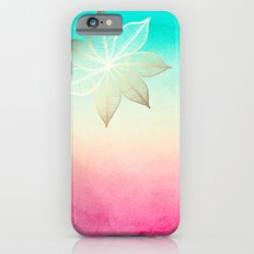 Gold Flower on Turquoise & Pink Watercolor iPhone 6s Slim Case