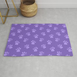 Cat Dog Paw Print Pattern in Purple Rug