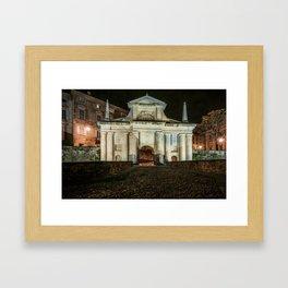 Front view of Porta San Giacomo in the upper city of Bergamo. Night cityscape. Framed Art Print