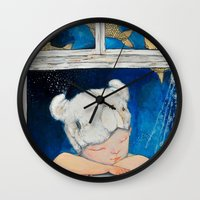 dreamer Wall Clocks featuring Dreamer by Zinaarts