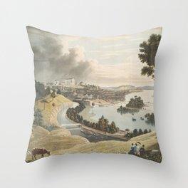 Vintage Pictorial Map of Richmond VA (1834) Throw Pillow