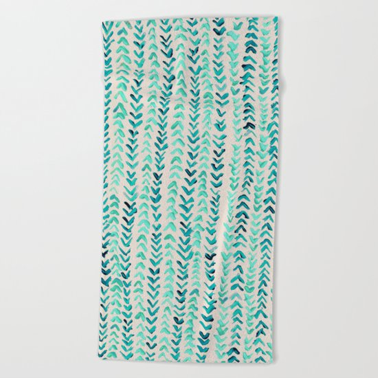Hand Painted Herringbone Pattern in Mint Beach Towel