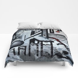 Graffiti On Gray Background Comforters