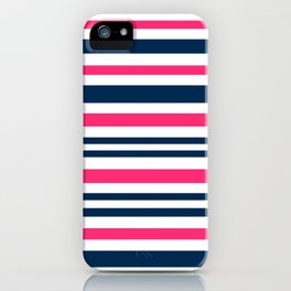 Horizontal , striped , pink , blue , white iPhone Case