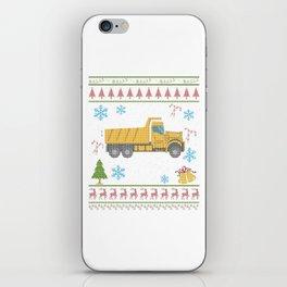 Dump Truck Christmas Ugly Shirt Construction Truck iPhone Skin