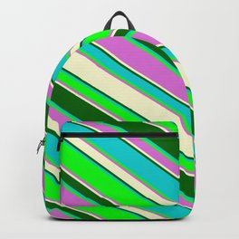 Vibrant Dark Turquoise, Lime, Orchid, Light Yellow, and Dark Green Colored Stripes Pattern Backpack