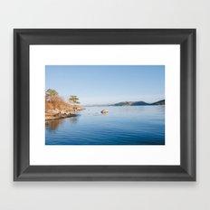Norwegian fjord landscape in winter Framed Art Print