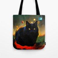 black cat Tote Bags featuring black cat by ururuty