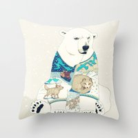 polar bear Throw Pillows featuring Polar Bear by Yuliya