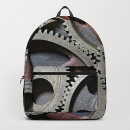 Group of old steel cogwheels Backpack