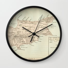Vintage Map of Cyprus Wall Clock