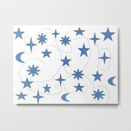 Abstract Celestial Design Stars Sun and Moon Metal Print