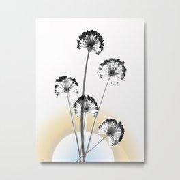 black and white flower wallpaper and the sun, flower decor, printable art Metal Print