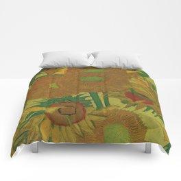 Van Gogh, sunflowers 2 – Van Gogh,Vincent Van Gogh,impressionist,post-impressionism,brushwork,paint Comforters