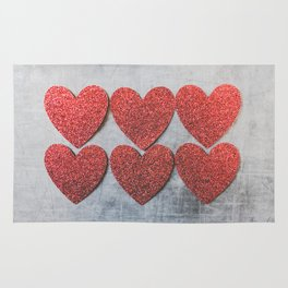 Red Glitter Sparkles Hearts Rug