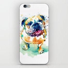 Watercolor Bulldog iPhone Skin