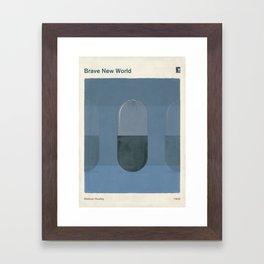 "Aldous Huxley ""Brave New World"" - Minimalist illustration literary design, bookish gift Framed Art Print"