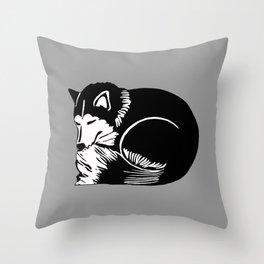 Black and White Sleeping Husky Throw Pillow