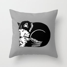 Black and White Sleeping Husky Throw Pillow