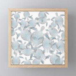 Silver Turtles Pattern Framed Mini Art Print