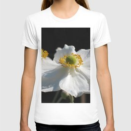 White on Black - Anemone Flowers T-shirt