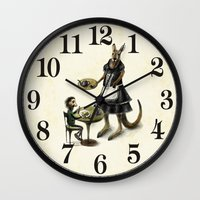 cafe Wall Clocks featuring Kangaroo cafe by Anna Shell