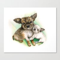 puppies Canvas Prints featuring little puppies by RasaOm
