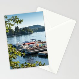 Overlooking a pier and boats on Lake Arrowhead, CA Stationery Cards