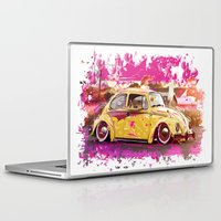volkswagon Laptop & iPad Skins featuring yellowinpink beetle bug by Vector Art